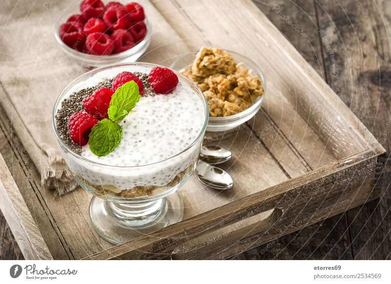 Chia yogurt with raspberries in a glass cup Healthy Eating Summer Food photograph Wood Natural Fruit Nutrition Fresh Delicious Dessert Breakfast Diet