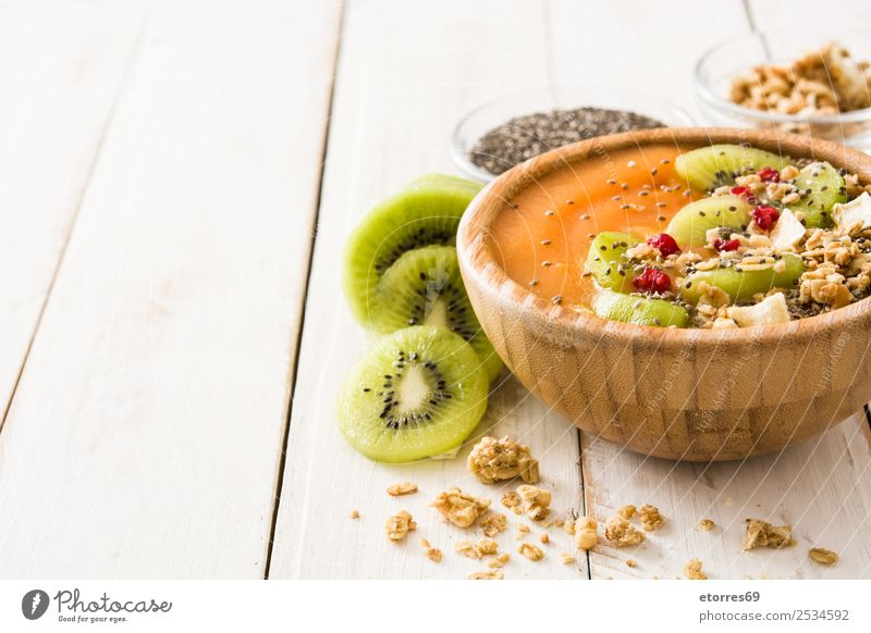 Healthy smoothie with fruit and cereals Healthy Eating Green White Food photograph Orange Fruit Nutrition Fresh Dessert Good Breakfast Organic produce Bowl Seed