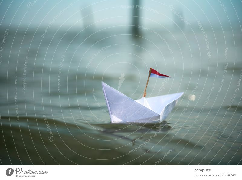 Small paper boat on the sea Alternative medicine Wellness Relaxation Vacation & Travel Freedom Cruise Summer Summer vacation Sun Beach Ocean Island Waves