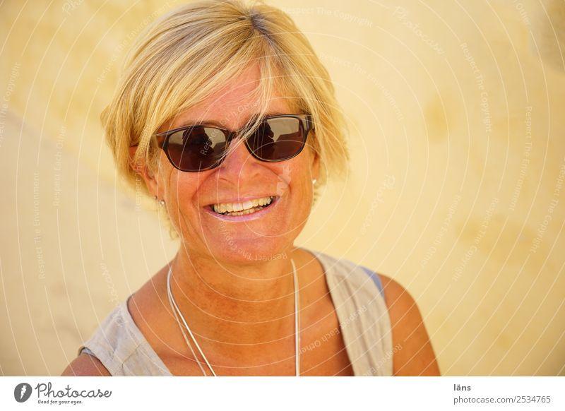 Woman Blonde Smiling Sunglasses Greece Santorini