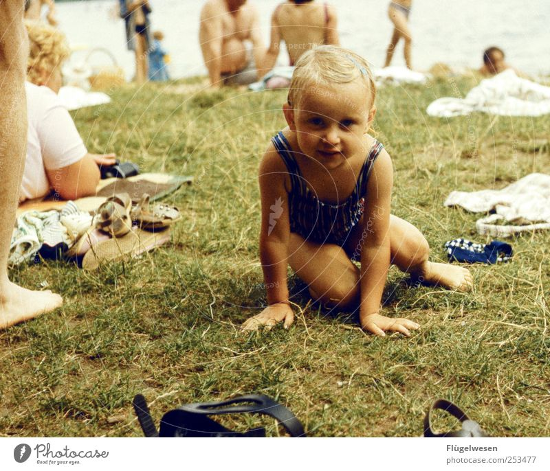 Human being Vacation & Travel Girl Summer Relaxation Meadow Playing Lake Infancy Blonde Leisure and hobbies Swimming & Bathing Childhood memory Cute Lawn Swimming pool