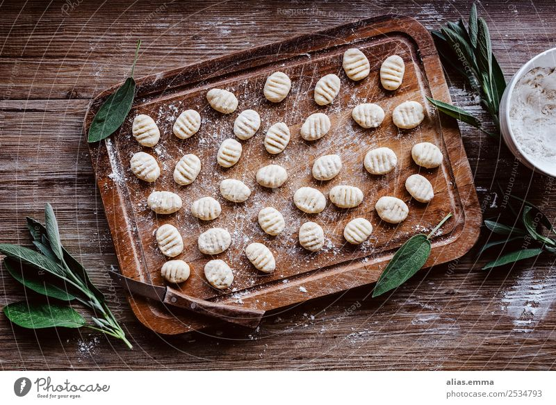 Ricotta Gnocchi with sage Food Healthy Eating Dish Food photograph Italian Food Sage Herbs and spices Cooking Raw Rustic Nutrition recipe Wooden board