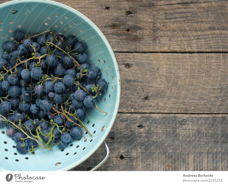 Blue grapes Fruit Dessert Organic produce Vegetarian diet Diet Summer Nature Delicious sieve utensils colander blue box food vine table fresh agriculture ripe