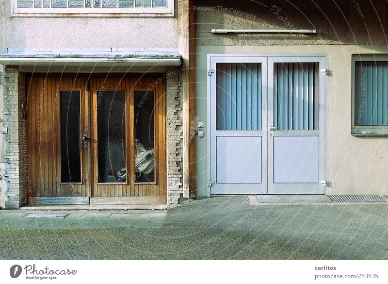 Old Loneliness House (Residential Structure) Cold Window Wall (building) Gray Wall (barrier) Brown Door Glass Facade Gloomy Retro Simple