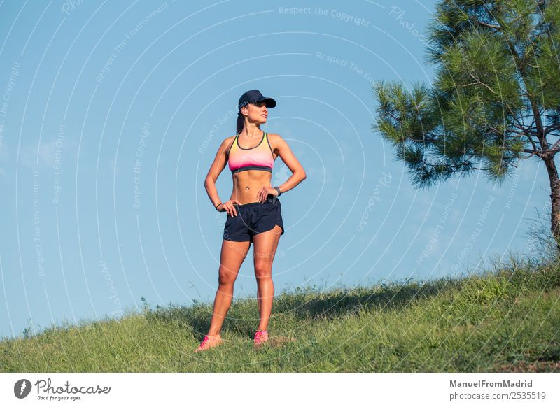 athletic woman resting Lifestyle Beautiful Body Summer Sports Woman Adults Nature Park Fitness workout Runner training Resting young Practice exhausted athlete