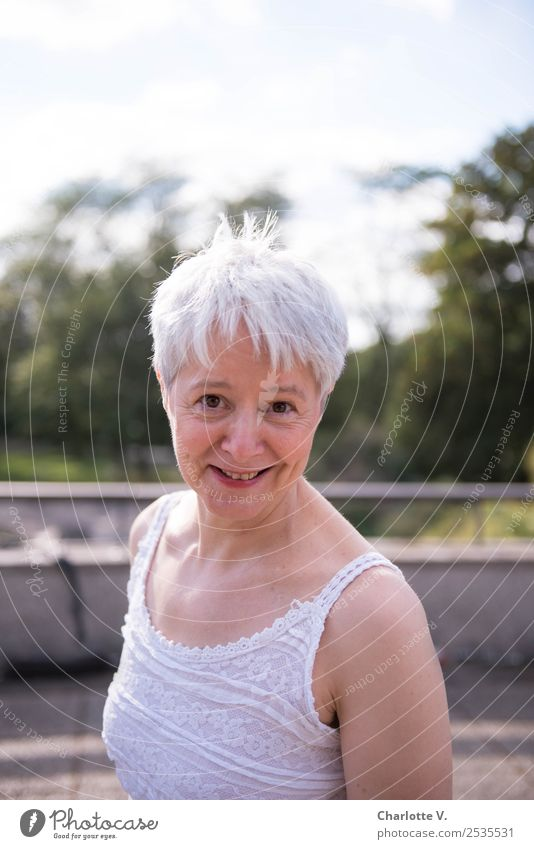 I dare you! Human being Feminine Woman Adults Female senior 1 45 - 60 years Gray-haired Short-haired Smiling Looking Illuminate Cool (slang) Brash Free
