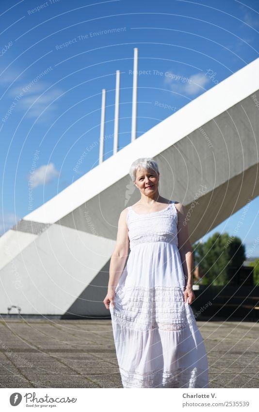 Woman Human being Sky Blue White Architecture Adults Feminine Gray Going Illuminate Retro Fresh Elegant Smiling 45 - 60 years