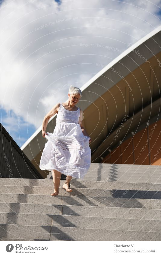 vibrant Human being Feminine Woman Adults Female senior Life 1 45 - 60 years Clouds Summer Beautiful weather Berlin Manmade structures Architecture Stairs Roof