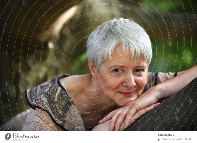 Relaxed Human being Feminine Woman Adults Female senior 1 45 - 60 years Tree Park Gray-haired Short-haired Wood Smiling Illuminate Lie Looking Authentic Near