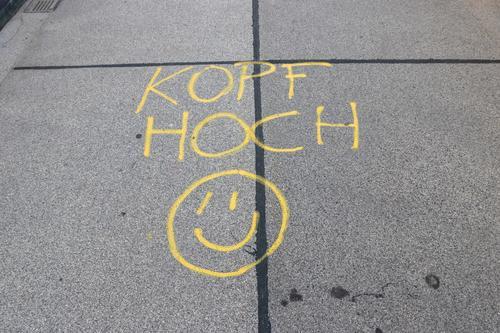 Colour Joy Life Graffiti Yellow Religion and faith Lanes & trails Happy Gray Power Happiness Joie de vivre (Vitality) Bridge Friendliness Write Asphalt