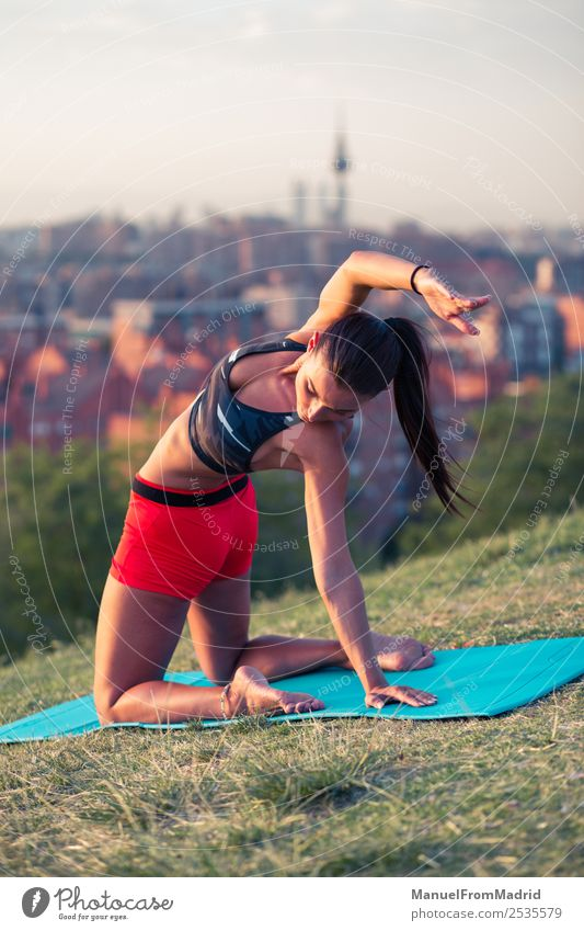 athletic woman working out outdoors Lifestyle Beautiful Health care Wellness Sports Woman Adults Park Fitness Athletic fit Mat young background healthy City