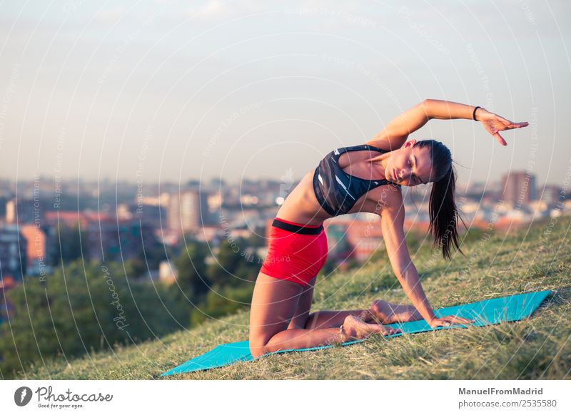 athletic woman working out outdoors Lifestyle Beautiful Health care Wellness Sports Woman Adults Park Fitness Athletic fit Mat Copy Space young background