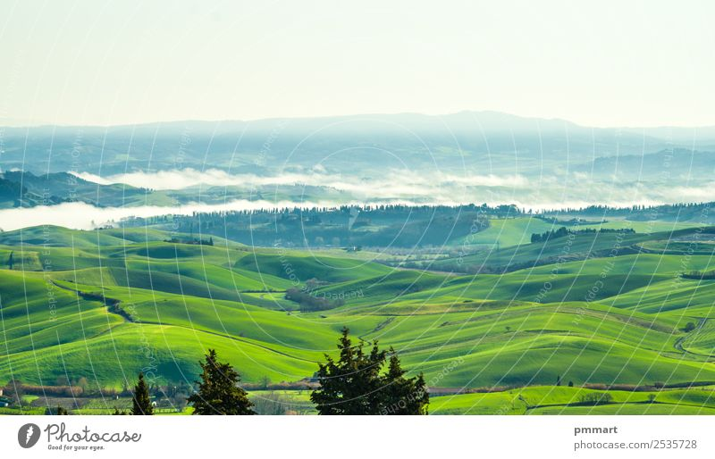 countryside cultivated with fog rising in the morning sunlight Vacation & Travel Tourism Summer Winter House (Residential Structure) Nature Landscape Sky Autumn