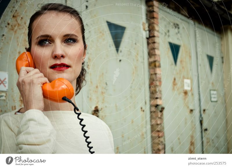Youth (Young adults) White Red Adults To talk Head Office Orange Success Telephone 18 - 30 years Young woman Retro Communicate Factory Society