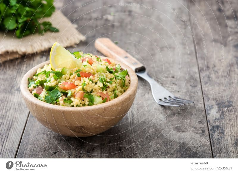Tabbouleh salad Table Salad couscous Vegetable Tomato Cucumber Parsley Mint Vegan diet Vegetarian diet Healthy Eating Nutrition Diet Bowl Lemon Food