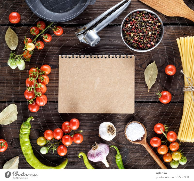 ingredients for cooking pasta Colour Red Black Eating Yellow Above Line Fresh Open Large Paper Herbs and spices Vegetable Tradition Baked goods Long