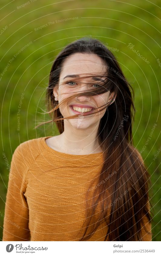 Outdoor portrait of beautiful happy teenager Happy Beautiful Face Sun Human being Woman Adults Youth (Young adults) Nature Wind Grass Park Meadow Fashion