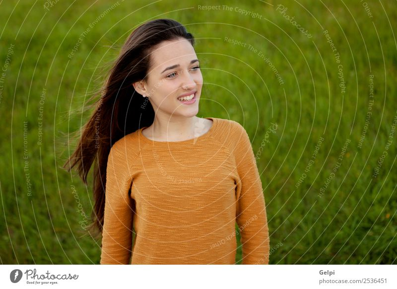 Outdoor portrait of beautiful happy teenager girl Happy Beautiful Sun Human being Woman Adults Youth (Young adults) Nature Wind Grass Park Meadow Fashion