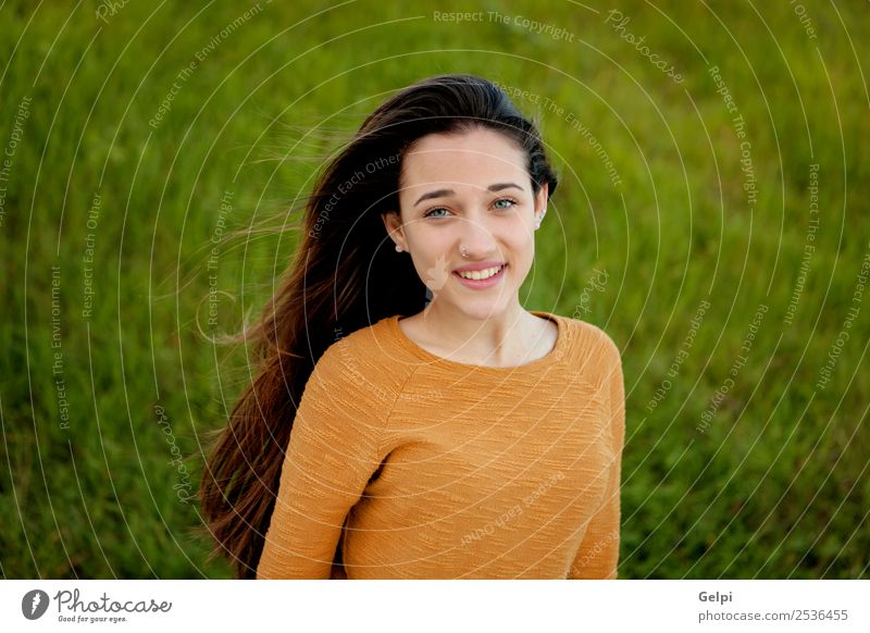 Outdoor portrait of beautiful happy teenager Happy Beautiful Sun Human being Woman Adults Youth (Young adults) Nature Wind Grass Park Meadow Fashion To enjoy
