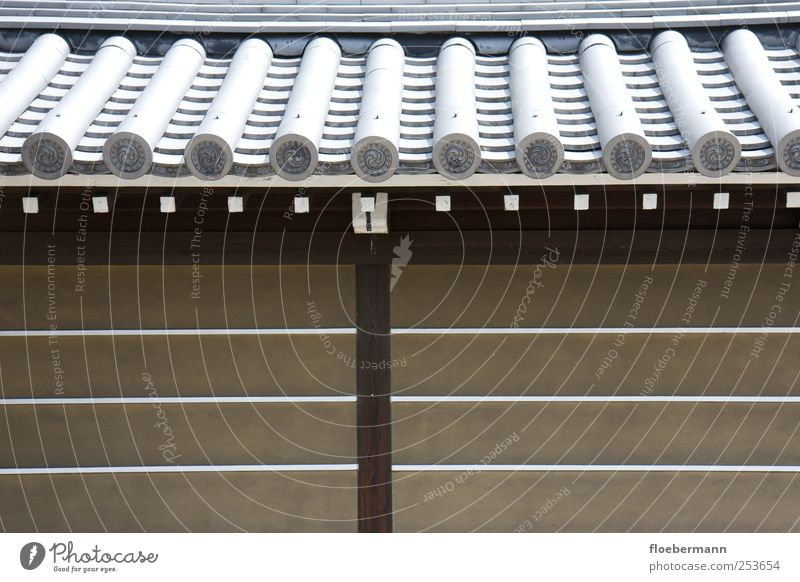 Japanese roof Kyoto Asia Deserted Manmade structures Building Architecture Wall (barrier) Wall (building) Facade Style Symmetry Tradition Geometry Colour photo