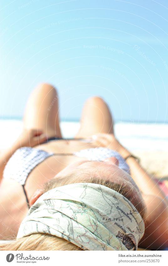 hot. Beautiful Senses Relaxation Calm Cure Spa Summer vacation Sunbathing Beach Ocean Feminine Woman Adults Head Hair and hairstyles Legs Bikini Blonde To enjoy