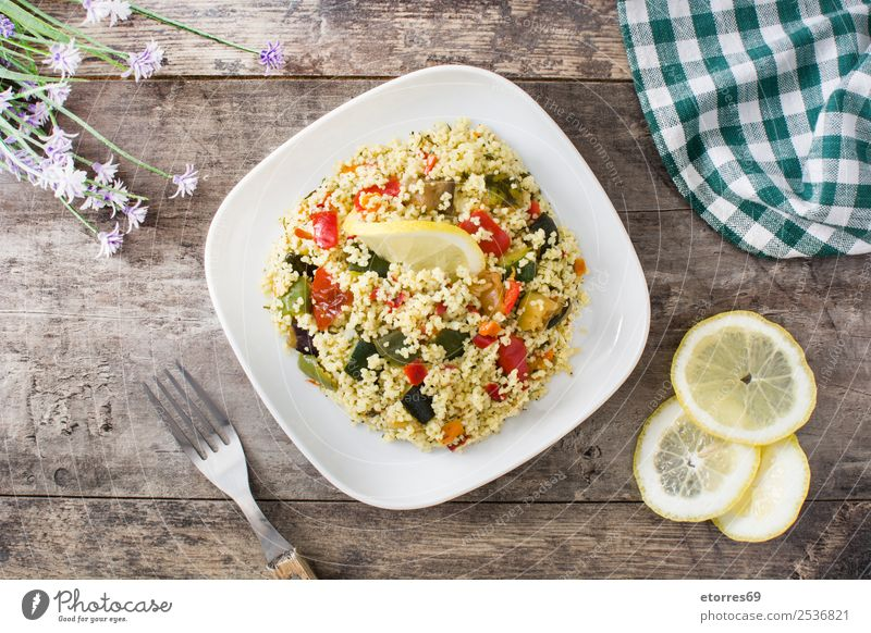Couscous with vegetables Food Vegetable Vegetarian diet Diet Plate Healthy Eating Stone Fresh Green Red Black Tradition couscous Salad bulgur African Arabia