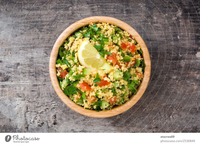 Tabbouleh salad with couscous Table Salad Vegetable Tomato Cucumber Parsley Mint Vegan diet Vegetarian diet Healthy Healthy Eating Nutrition Diet Bowl Lemon