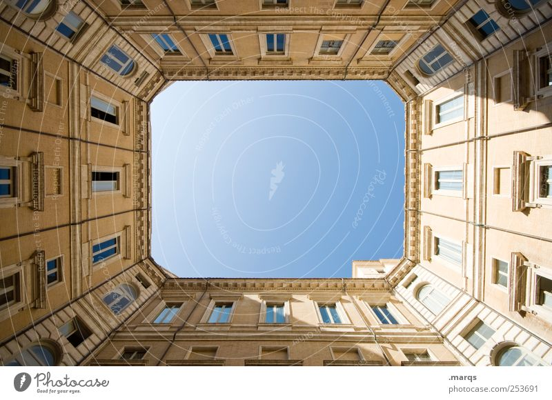 frame Rome Italy Town Architecture Facade Simple Interior courtyard Perspective Rectangle Skyward Ambitious Tall Esthetic Elegant House (Residential Structure)