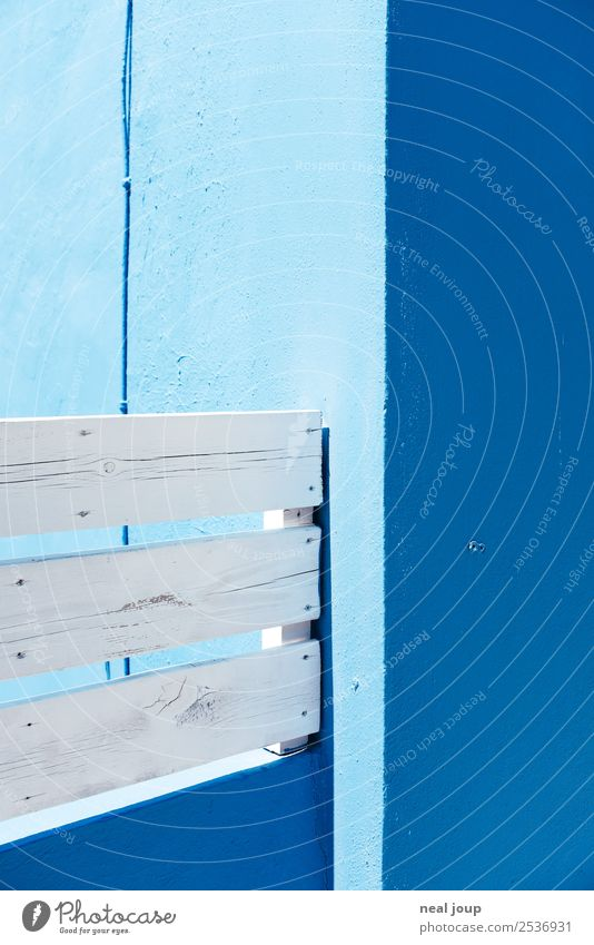 Composition for blue and white Wall (barrier) Wall (building) Handrail Wood Sharp-edged Simple Blue White Orderliness Design Culture Arrangement Precision