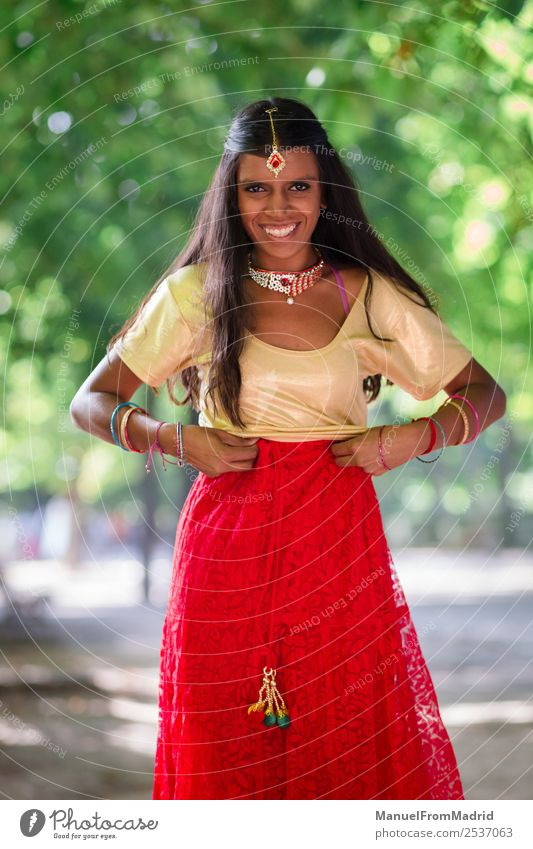 traditional indian woman portrait Happy Beautiful Woman Adults Hand Nature Park Fashion Clothing Dress Jewellery Smiling Gold Green Tradition Indian Posture