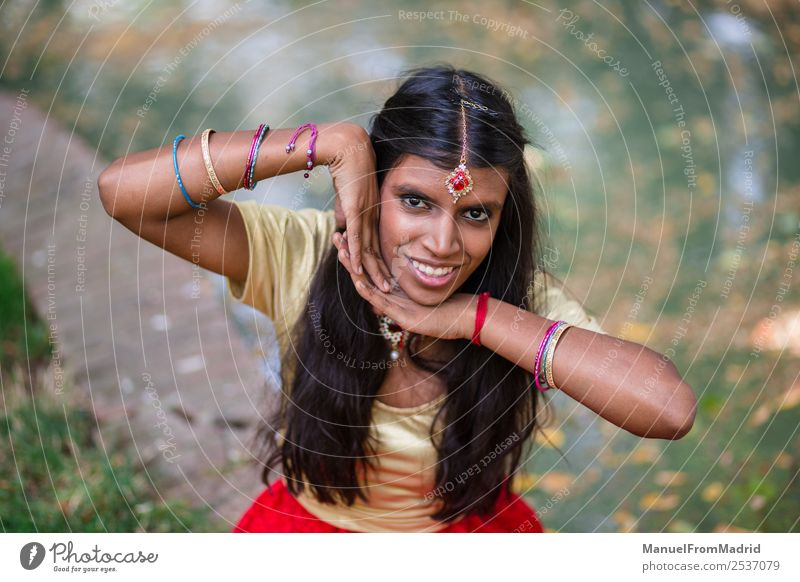 traditional indian woman portrait Beautiful Woman Adults Hand Nature Park Fashion Clothing Dress Jewellery Gold Green Tradition Indian Posture cheerful simling