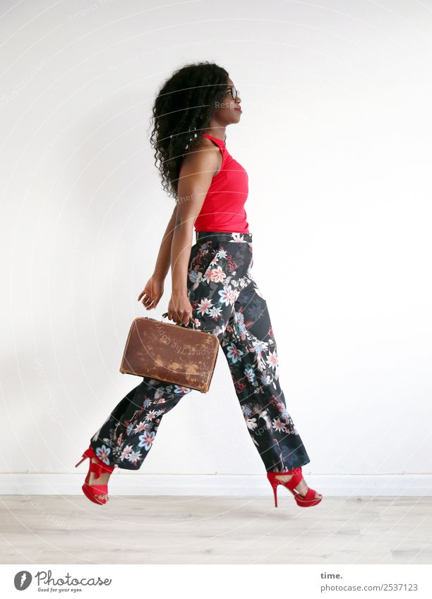 Apolline Room Feminine Woman Adults 1 Human being T-shirt Pants Suitcase Eyeglasses High heels Brunette Long-haired Curl Afro To hold on Going Looking Elegant