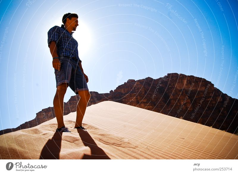 Human being Man Youth (Young adults) Blue Sun Summer Calm Adults Relaxation Landscape Sand Dream Contentment Power Climate Natural