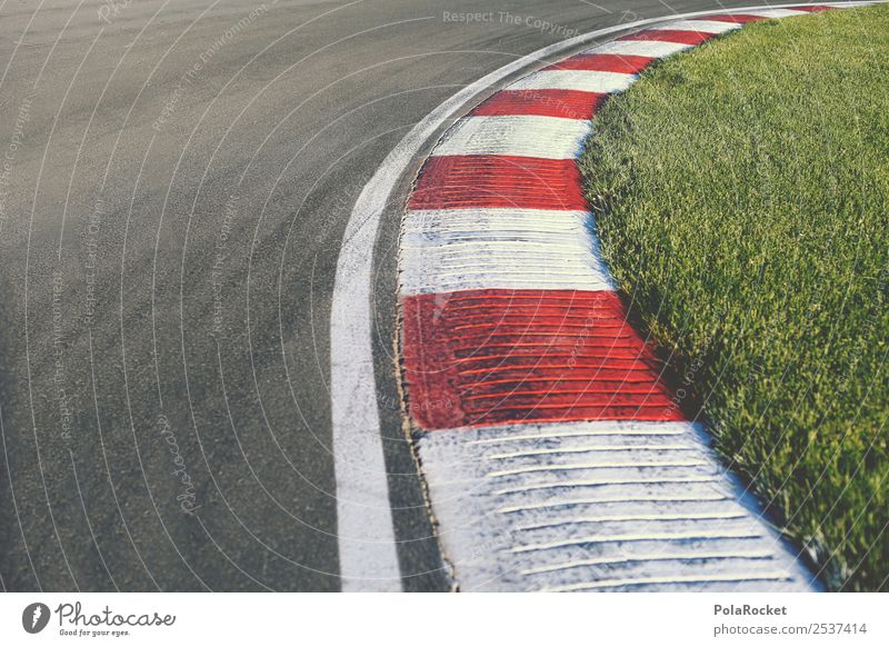 #A# Racing Art Trade Racecourse Traffic lane Lane markings Clique Curve Tilt Red White Striped Speed Speed rush racing Car race Brakes Colour photo