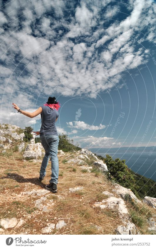 Dance the Apocalypso Feminine Young woman Youth (Young adults) Hair and hairstyles 1 Human being Nature Sky Coast Ocean Cliff Croatia Cool (slang) Happiness