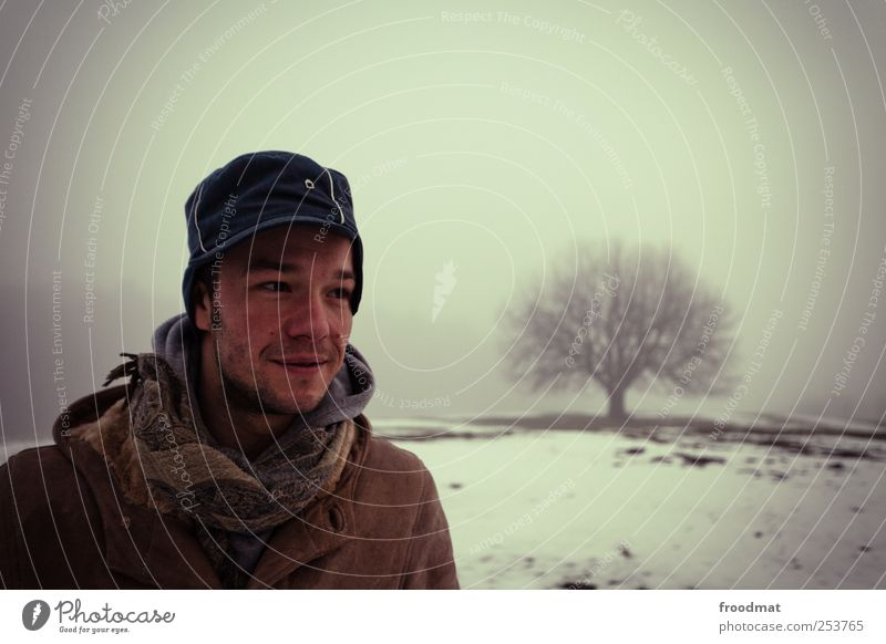 Human being Man Nature Youth (Young adults) Tree Winter Calm Cold Dark Snow Landscape Adults Happy Weather Fog