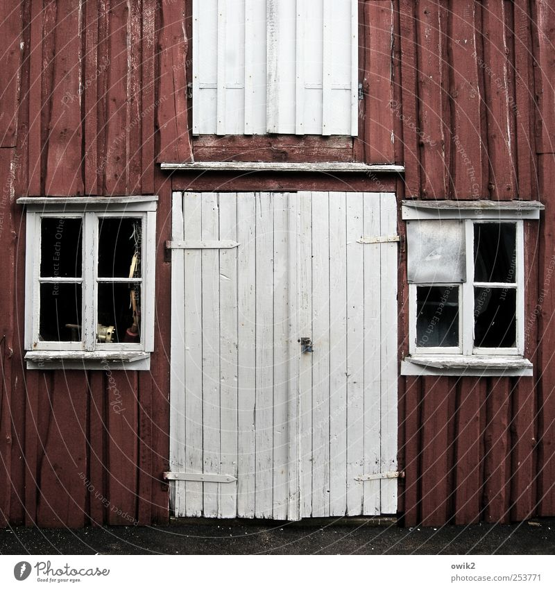 skärhamn House (Residential Structure) Wooden wall Bohuslän Northern Europe Sharp-edged Simple Black White Gate Closed Window transom and mullion Direct Frontal