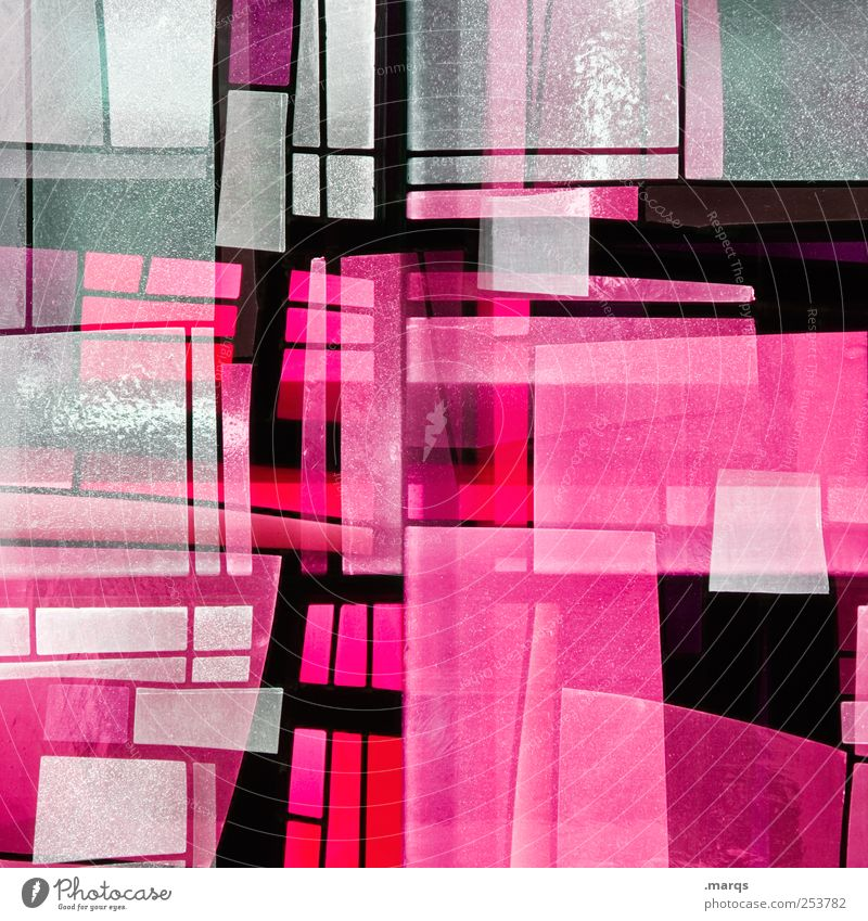 PINk Lifestyle Style Design Art Glass Line Illuminate Exceptional Cool (slang) Hip & trendy Uniqueness Pink Chaos Colour Whimsical Surrealism Decoration Mosaic
