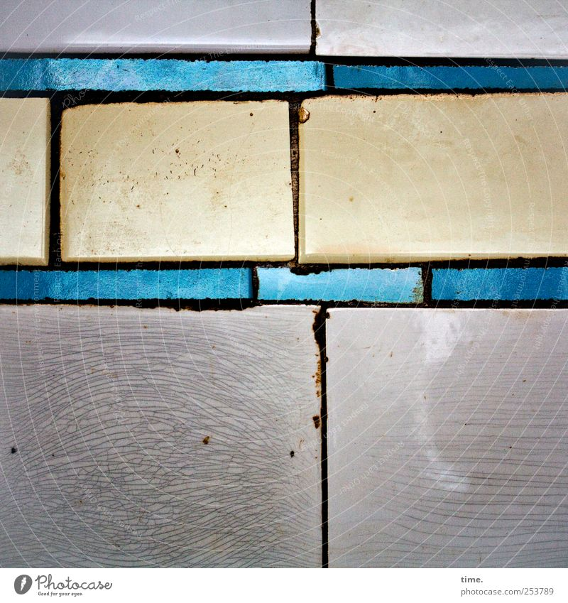 piecework Decoration Jewellery Old Glittering Illuminate Blue Yellow Gray Tile Wall (building) Seam Derelict Weathered Vertical Horizontal small box
