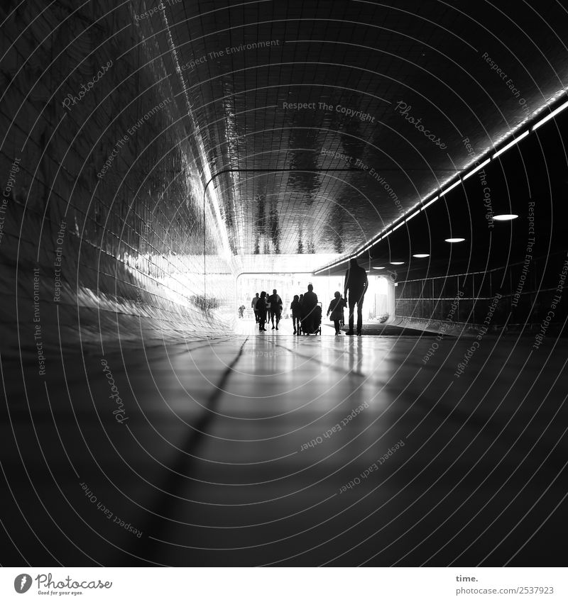 Crossing the border | Light at the end Human being Crowd of people Central Station Tunnel Transport Traffic infrastructure Lanes & trails Going Dark Bright Town