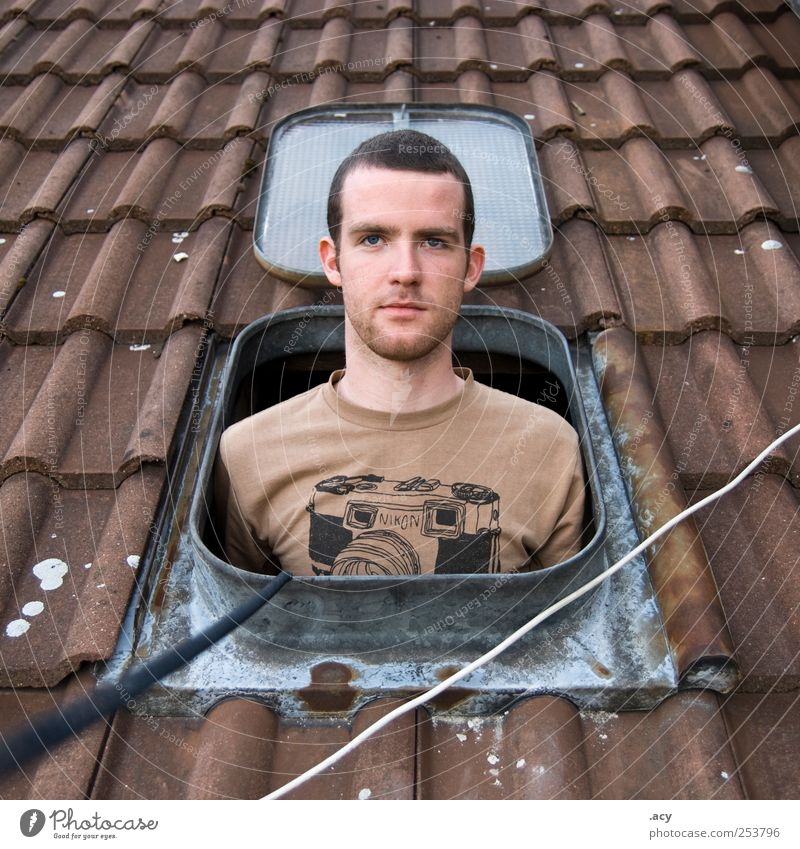 Human being Man Youth (Young adults) House (Residential Structure) Window Berlin Adults Photography Airplane Free Fresh Masculine Authentic Cable Hope Roof