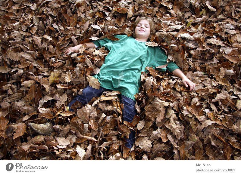 Green Girl Joy Leaf Calm Environment Autumn Happy Garden Dream Park Brown Contentment Blonde Lie T-shirt