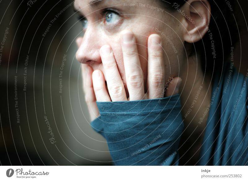 Woman Human being Blue Face Feminine Life Emotions Adults Think Sadness Dream Moody Authentic Hope Grief To hold on