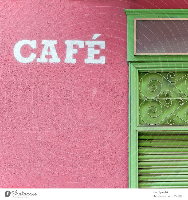cafe Going out Downtown Old town House (Residential Structure) Wall (barrier) Wall (building) Facade Door Metal Characters Ornament Green Pink Café Closed