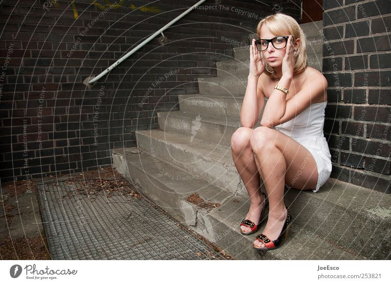 Woman Beautiful Adults Far-off places Style Think Blonde Sit Wait Stairs Academic studies Cool (slang) Eyeglasses Dress Observe Education