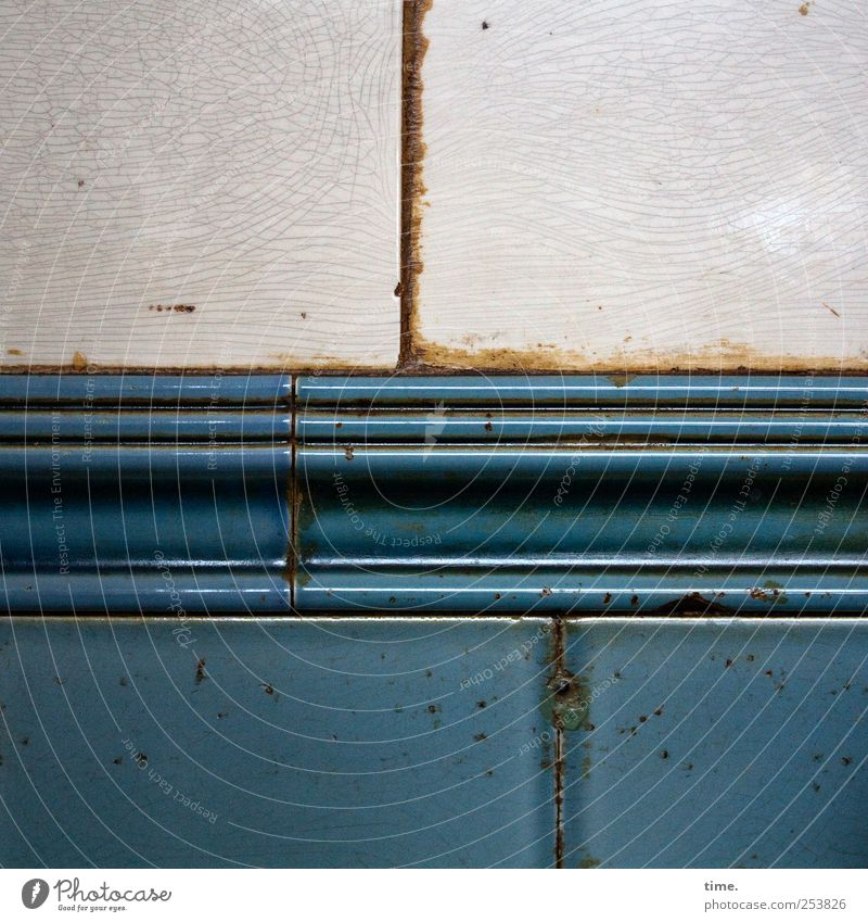 Piecework II Decoration Old Glittering Illuminate Blue Gray Tile Wall (building) Seam Derelict Weathered Vertical Horizontal Crack & Rip & Tear denominated
