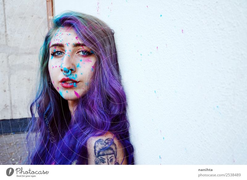 Beautiful young woman with paint in her skin Woman Human being Youth (Young adults) Young woman 18 - 30 years Adults Feminine Art Exceptional Dream Fresh Power