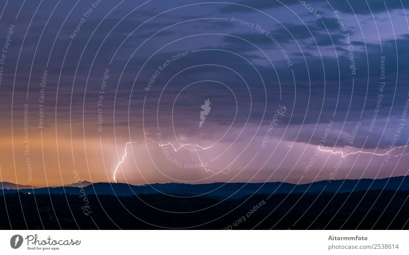Powerful thunderstorm over hills Beautiful Environment Nature Landscape Climate Weather Storm Lightning Hill Bright Energy air Atmosphere atmospheric