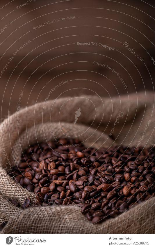 Sack of fresh coffee beans Grain Breakfast Coffee Lifestyle Love Dark Fresh Hot Delicious Natural Brown Energy Colour arabica Aromatic background bag barista