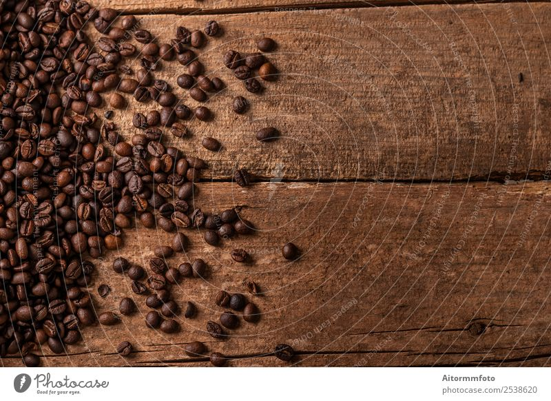 Coffee beans on wooden table background Grain Breakfast Lifestyle Table Wood Love Fresh Hot Delicious Natural Brown Energy Colour arabica Aromatic bag barista